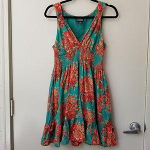 Angie Faux Wrap Smocked Waist Floral Mini Dress